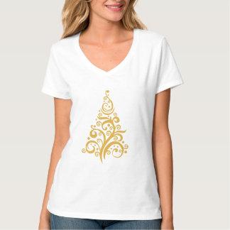 Merry Christmas gold swirls tree shirt