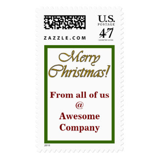 Merry Christmas!  Gold Text with Personalization Postage