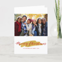 Merry Christmas Gold Tree Foil Brush Holiday Photo