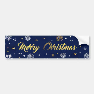 Merry Christmas Gold & White Snowflakes Elegant Bumper Sticker