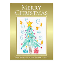 Merry Christmas. Gold. Your Child's Art. Family Postcard