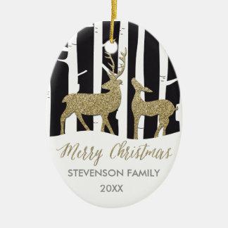 Merry Christmas golden deers photo ornament