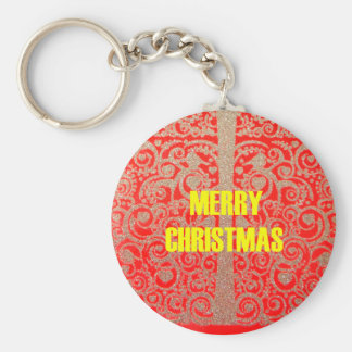 Merry Christmas Golden Red Snow Hearts Keychain