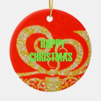 Merry Christmas Golden Red Snowflex.jpg Ceramic Ornament