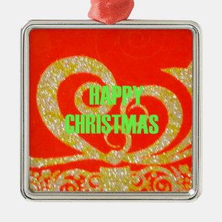 Merry Christmas Golden Red Snowflex.jpg Metal Ornament