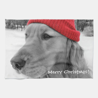 Merry Christmas Golden Retriever Hand Towel