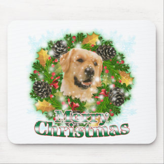 Merry Christmas Golden Retriever Mouse Pad