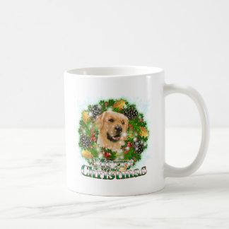 Merry Christmas Golden Retriever Classic White Coffee Mug