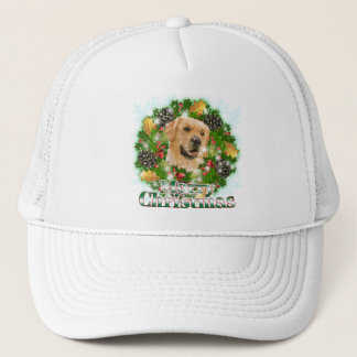 Merry Christmas Golden Retriever Trucker Hat