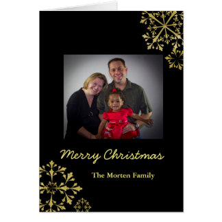 Merry Christmas Golden Snowflake Greeting Cards