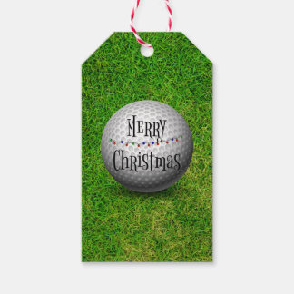 Merry Christmas, golf ball on grassy background Gift Tags