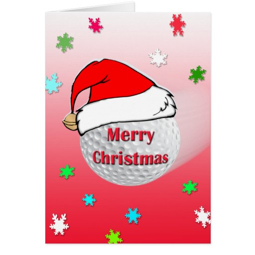 Merry christmas golf ball santa hat greeting card zazzle