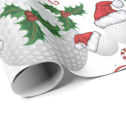 Merry Christmas Golf Ball Santa Wrapping Paper
