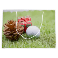 Merry Christmas golfer with pine cone & golf ball Large Gift Bag