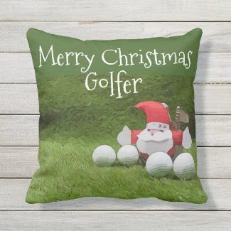 Merry Christmas Golfer with Santa and golf balls Outdoor Pillow