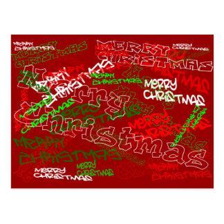 MERRY CHRISTMAS GRAFFITI POSTCARD