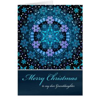 Merry Christmas Granddaughte, Blue Boho Snowflakes Card