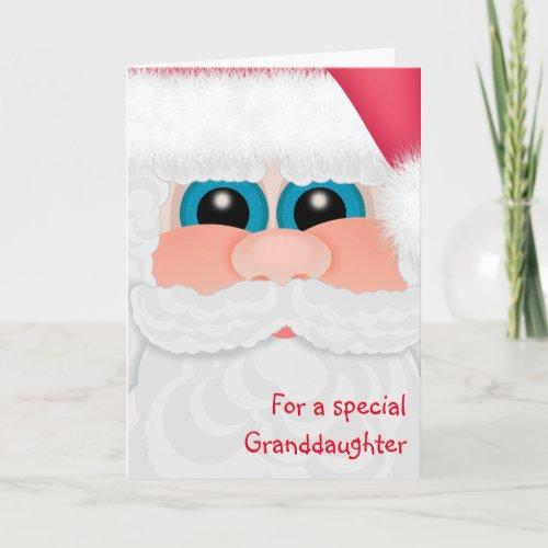 Merry Christmas Granddaughter Sweet Santa Holiday Card