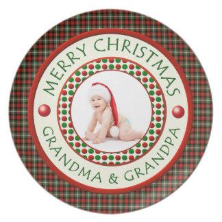 Merry Christmas Grandma and Grandpa CustomPhoto Plate