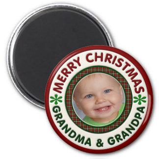 Merry Christmas Grandma and Grandpa Photo 2 Inch Round Magnet