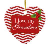 Merry Christmas Grandma Chevron Photo Christmas Ornaments