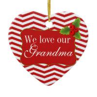 Merry Christmas Grandma Chevron Photo Ornaments