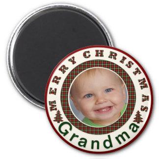 Merry Christmas Grandma Holiday Photo Custom 2 Inch Round Magnet