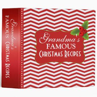 Merry Christmas Grandma's Recipes Chevron 3 Ring Binder