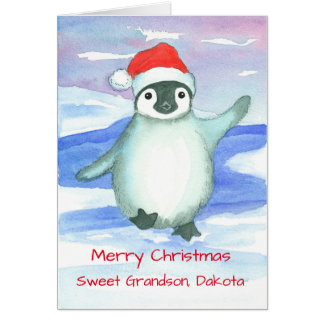 Merry Christmas Grandson Baby Penguin Custom Card