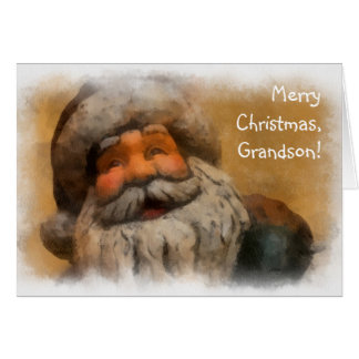 Merry Christmas, Grandson - vintage Santa painting Greeting Card