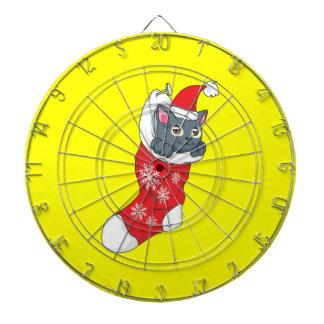 Merry Christmas Gray Kitten Cat Red Stocking Grey Dart Boards
