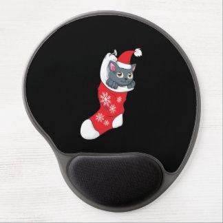 Merry Christmas Gray Kitten Cat Red Stocking Grey Gel Mousepad