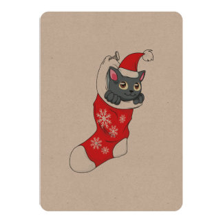 Merry Christmas Gray Kitten Cat Red Stocking Grey Custom Announcements
