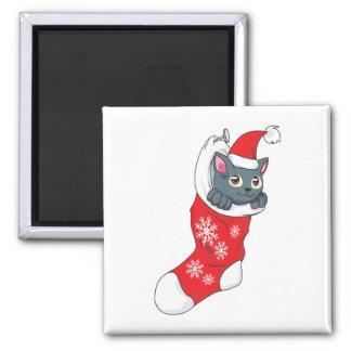 Merry Christmas Gray Kitten Cat Red Stocking Grey Fridge Magnet
