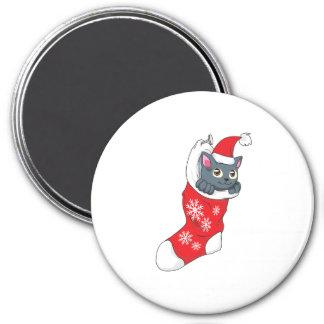 Merry Christmas Gray Kitten Cat Red Stocking Grey Fridge Magnets