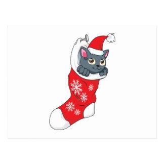 Merry Christmas Gray Kitten Cat Red Stocking Grey Postcard