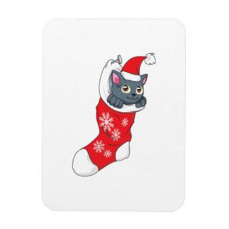 Merry Christmas Gray Kitten Cat Red Stocking Grey Rectangular Magnet