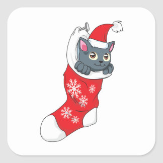 Merry Christmas Gray Kitten Cat Red Stocking Grey Sticker