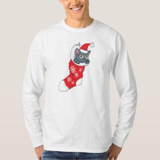Merry Christmas Gray Kitten Cat Red Stocking Grey T-Shirt