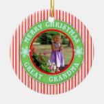 Merry Christmas Great Grandma Dated Photo Ceramic Ornament