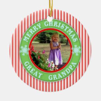Merry Christmas Great Grandpa Dated Photo Ceramic Ornament