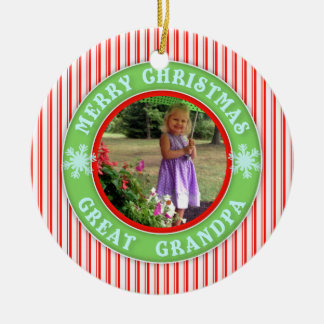 Merry Christmas Great Grandpa Dated Photo Ornaments