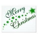"MERRY CHRISTMAS GREEN 4.25"" X 5.5"" INVITATION CARD"