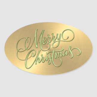 Merry Christmas Green and Gold  Embossed Look Oval Sticker