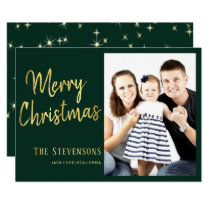 Merry Christmas | Green and Gold | Holiday Photo Invitation