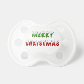 Merry Christmas Green and Red With Snow Pacifier