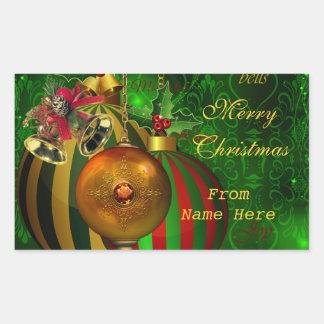Merry Christmas Green Balls Gold Red Xmas Party Rectangular Sticker