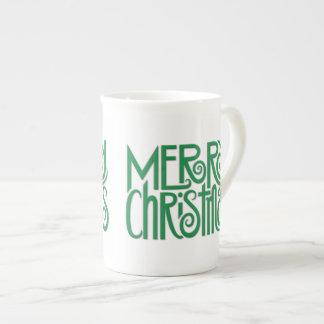 Merry Christmas green Bone China Mug