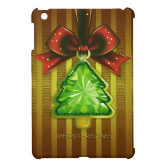 Merry Christmas Green Diamond Tree iPad Mini Case