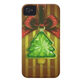 Merry Christmas Green Diamond Tree iPhone 4 Case Case-Mate iPhone 4 Cases